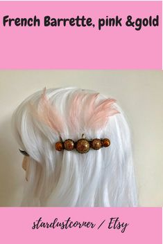 French barrette, gold and pink Easy Hairstyles, Pink And Gold, Handmade Jewelry, Buy And Sell, Hair Accessories, Beaded Bracelets, Earrings, Stuff To Buy, Etsy