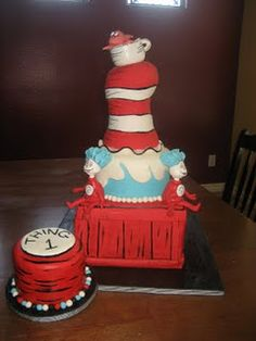 good idea for twins first birthday and make another little cake that says ''thing 2''