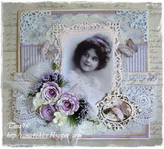 Card by LLC DT Member Tina Klix, using papers from Maja Design's Vintage Spring Basics collection.