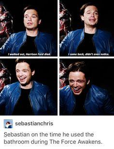 Sebastian Stan pays a lot of attention to star wars movies Marvel Actors, Marvel Avengers, Marvel Comics, Marvel Funny, Marvel Memes, Funny Avengers, Dc Memes, Nerd Memes, Fandoms