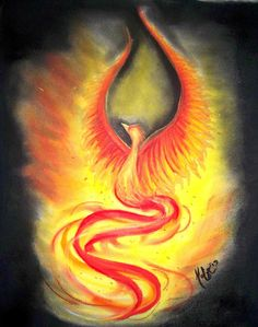 Fire Phoenix Soft Pastel on recycled paper Madelyn Mershon Art