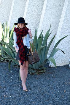 Leather shorts plaid scarf felt hat leopard heels    seekwandershare.com