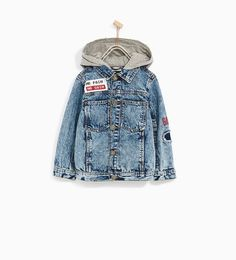 Image 1 of DENIM JACKET WITH HOOD AND PATCHES from Zara