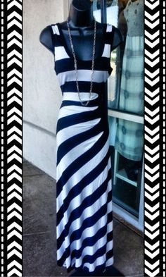 Calvin Klein Stripe Maxi Dress, Size M!  - This is one gorgeous maxi dress by Calvin Klein...  Bold black and white stripes, soft stretch knit fabric, slimming starburst detail at the waist! Dress is like new!  Just gorgeous!!  - $42 #calvinklein #ck #maxidress #spring #summer #blackandwhite #fashion #designer #shop #posh #consignment #boutique