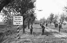 1938. Az első bécsi döntés után visszafoglalt felvidéki területen balrahajts volt érvényben. Kép az egykori határról.