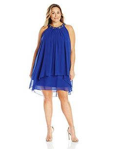 """Product review for S.L. Fashions Women's Plus Size Jeweled Neck Drape Front Chiffon Dress.  - Embellished neck drape front chiffon dress also has a drape front.       Famous Words of Inspiration...""""Heroism is not only in the man, but in the occasion.""""   Calvin Coolidge — Click here for more from Calvin..."""
