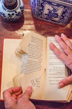 ▷ 1001 + Ideen und Bilder zum Thema Bücher falten two hands of an old woman and a brown wooden … Butterfly Books, Paper Butterflies, Paper Flowers, Old Book Crafts, Book Page Crafts, Diy Paper, Paper Art, Paper Crafts, Altered Book Art