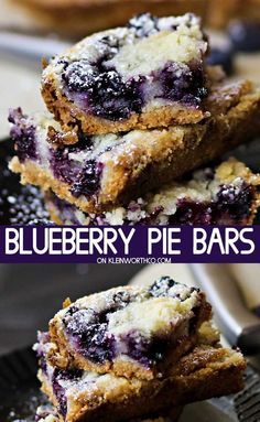 Pie bar recipes - This Blueberry Pie Bars Recipe is the perfect dessert recipe for blueberry lovers Loaded with fresh blueberries, these buttery bars are great for any occasion blueberrypiebars blueberry blueberry Dessert Dips, Dessert Parfait, Smores Dessert, Dessert Healthy, Healthy Sweet Treats, Breakfast Dessert, Yummy Treats, Mini Desserts, Easy Desserts
