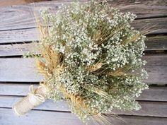 oat straw and babys breath bouquet