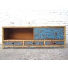 China Lowboard TV Kommode heller Rahmen blaue Türen Duotone