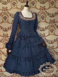 Cute, classic lolita: Dark blue dress with ruffles and beige collar.