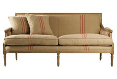 """Turnley 69"""" French Stripe Sofa, Flax/Red"""