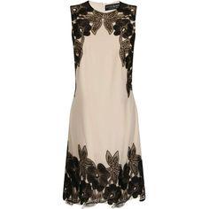 Little Mistress Nude/Black Floral Trim Dress ($127) ❤ liked on Polyvore featuring dresses, black, black sleeveless dress, kohl dresses, little mistress, sleeveless dress y sleeveless shift dress