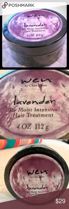 Wen Lavander Re-Moist Intensive Hair Treatment nwt This signature treatment is designed to rejuvenate and rehydrate dry,damaged, lifeless, color-treated hair. It improves lackluster hair, giving it the ultimate moisturizing treatment, using the perfect blend of natural and botanical extracts to restore hair to a much healthier state. WEN Other