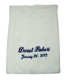 Namely Newborns - Cashmere Baby Blanket | Personalized Cream Cable Stitch, $210.00 (https://www.namelynewborns.com/cashmere-baby-blanket-personalized-cream-cable-stitch/)