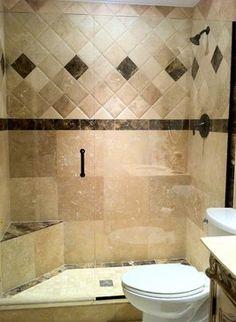 Bathroom Travertine  & Brown Marble Tile