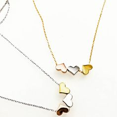 Tiffany OFF! These Three heart necklaces come in silver rose and yellow gold o a delicate necklace. Heart Necklaces, Key Necklace, Engraved Necklace, Simple Necklace, Heart Pendant Necklace, Diamond Necklaces, Silver Jewelry, Fine Jewelry, Gold Mangalsutra Designs