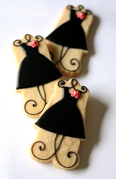 Everyone needs a lilttle black dress.Oh look they're cookies.I love cookies too. Fancy Cookies, Iced Cookies, Cut Out Cookies, Cute Cookies, Royal Icing Cookies, Yummy Cookies, Cookies Et Biscuits, Sugar Cookies, Heart Cookies