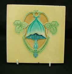 Antique Art Nouveau Majolica tile  Wade blue bell flower