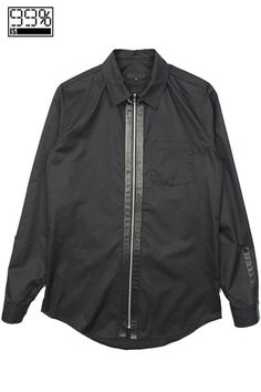 【99%IS-】ジップロングスリーブシャツ/BLACK