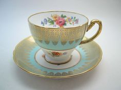 Hammersley Tea Cup and Saucer ,Blue and Gold tea cup and saucer set, English…