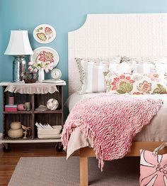 Tin Tile Headboard...CRATE SIDE TABLE