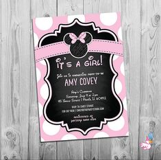 Free mickey mouse baby shower invitations clipart minnie mouse minnie mouse baby shower invitation printable baby shower chalkboard style invite black pink white filmwisefo Gallery