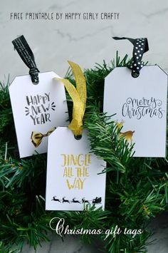 Modern Christmas gift tags (free printable!)