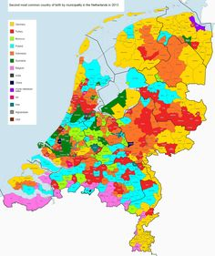 Second most common country of birth by Dutch municipality in 2013