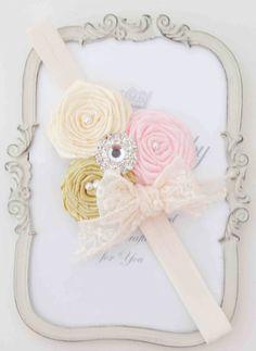 Cream Roses Vintagel Headband por cacababy en Etsy