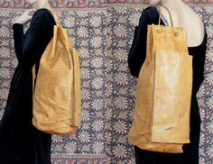 Large Peruvian Buttery Leather Drawstring Shoudler Tote