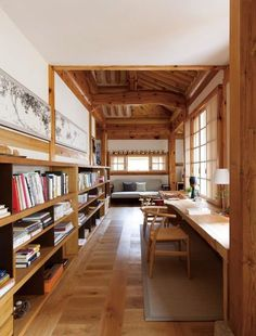 Study in a modified traditional housing built with Korean pine wood Bukchon Hanok Village Jongno District Seoul South Korea 550 725 Interior Simple, Home Interior Design, Interior Architecture, Interior And Exterior, Interior Decorating, Casa Loft, Asian Home Decor, Home Libraries, Japanese Interior