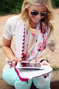 mint jeans & colorful scarf.
