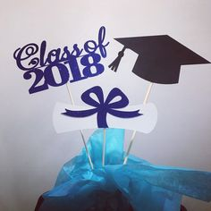 Graduation party decorations 2018 Graduation Centerpiece Sticks, Grad ,Cap ,Diploma , class of 2018, graduation decorations, prom 2018 by Party14ByBELLA on Etsy