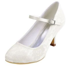 """ElegantPark Women Mary Jane Pumps Closed Toe Mid Heel Lace Bridal Shoes    Satin  Rubber sole  Material: Lace  Heel Height:2.5""""  Style: Mar..."""