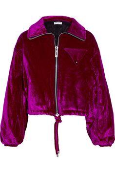 Plum cotton-blend velvet Zip fastening through front 51% cotton, 38% viscose, 6%…