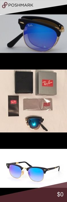 Ray Ban 100 % Authentic and NEW! Ray Ban model number -RB 2176 Folding Clubmaster - Color Code - 901S7Q - Lens Color - Blue Flash Gradient - Eye Size - 51. Comes with box- case- cleaning cloth and authenticity certificate. 100% authentic - NEW - NEVER been worn and ZERO scratches. Ray-Ban Accessories Sunglasses