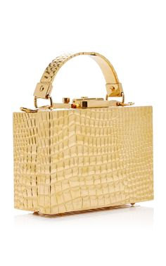 Mark Cross | Gold Croco Stamped Brass Mini Grace Box Bag