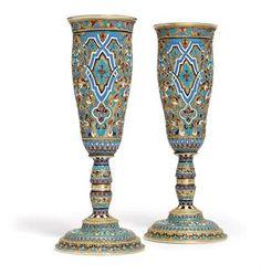 Cloisonne enamel goblets
