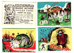 Monster action trading cards—1963.  Use with the magic action viewer and the monsters wiggle and move. Collection: Kindra Murphy