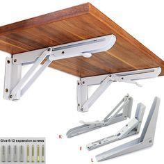 4 Pcs Spring Loaded White Metal Right Angle Folding Shelf Brackets 35cmx13cm