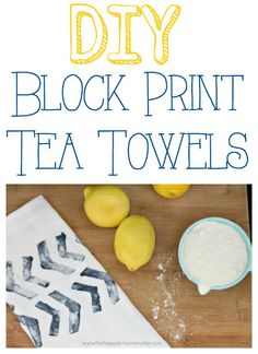 DIY Block Print Tea Towels - how to stamp with potatoes.