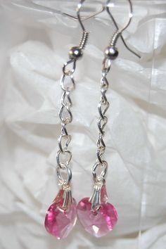 Simple Swarovski Heart Crystal Earrings by cbdjewelry on Etsy, $10.00