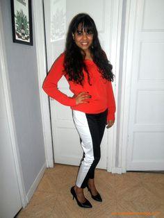 Camisa laranja + calça com listra lateral H