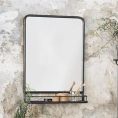 Industrial Metal Portrait Wall Mirror - With Shelf - estante