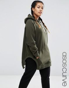 Image 1 of ASOS CURVE Hoodie in Oversized Fit with Side Splits