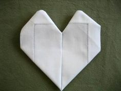 Folding a Napkin Into a Heart How to fold a napkin into a heart. :) day decorations for tables napkin folding Handkerchief Folding, Rehearsal Dinner Decorations, Healing Heart, Napkin Folding, Kid Table, Winter Art, Linen Napkins, Journal Covers, Layout Inspiration