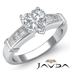 Women's Heart Diamond Channel Set Engagement Ring GIA G SI1 14k White Gold 1.4ct #Javda #SolitairewithAccents