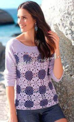 Пуловер с бабушкиными квадратами крючком и спицами