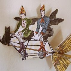 Steampunk Halloween Bat Lady Moon Paper Doll by RhondasOriginals Steampunk Halloween, Halloween Bats, Vintage Halloween, Collages, Digital Halloween Decorations, Cheesecake Factory Gift Card, Paper Art, Paper Crafts, Steampunk Festival